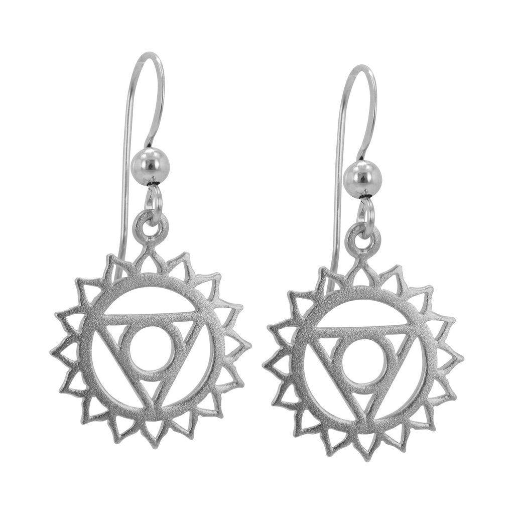 Silver Chakra Earrings - Throat