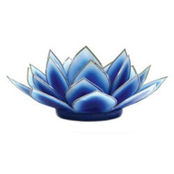 Dahlia Lotus Tea Light Holder, Dark Blue