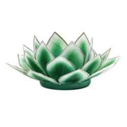 Dahlia Lotus Tea Light Holder, Dark Green