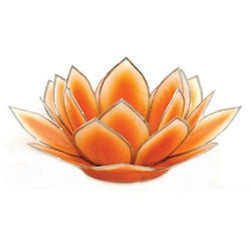 Dahlia Lotus Tea Light Holder, Orange