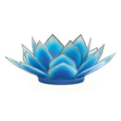 Dahlia Lotus Tea Light Holder, Turquoise