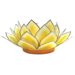 Dahlia Lotus Tea Light Holder, Yellow