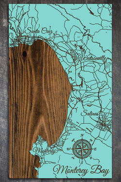 "Monterey Bay Wood Fired Map -  Medium (22.5"" x 38""), Island Oasis"