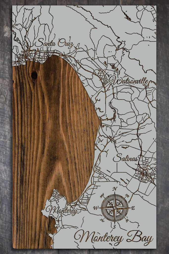 "Monterey Bay Wood Fired Map -  Mini (7.25"" x 12"")"