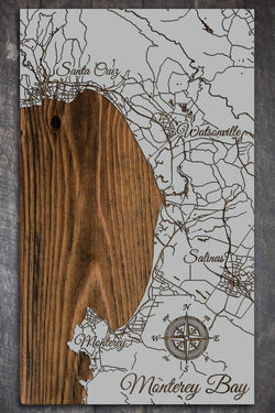 "Monterey Bay Wood Fired Map -  Schmedium (14.5"" x 24""), Lunar Surface"