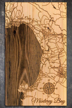 "Monterey Bay Wood Fired Map -  Mini (7.25"" x 12""), Natural"