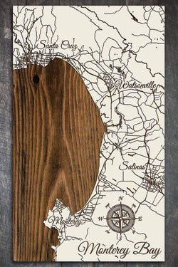 "Monterey Bay Wood Fired Map -  Mini (7.25"" x 12""), Papier Blanc"