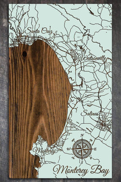 "Monterey Bay Wood Fired Map -  Mini (7.25"" x 12""), Seaglass"