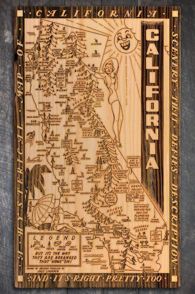"California Wow Wood Fired Map -  Large (26.25"" x 44.25"")"