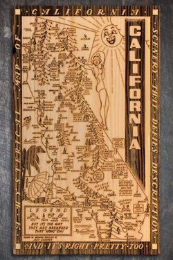 "California Wow Wood Fired Map -  Large (26.25"" x 44.25""), Natural"