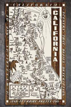 "California Wow Wood Fired Map -  Large (26.25"" x 44.25""), Papier Blanc"