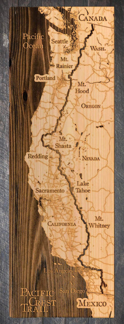 "Pacific Crest Trail Wood Fired Map -  Small (11.25"" x 35""), Natural"