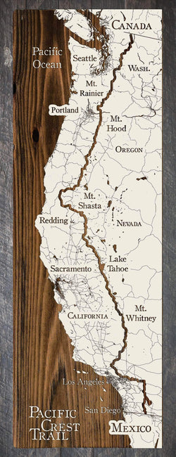 "Pacific Crest Trail Wood Fired Map -  Small (11.25"" x 35""), Papier Blanc"