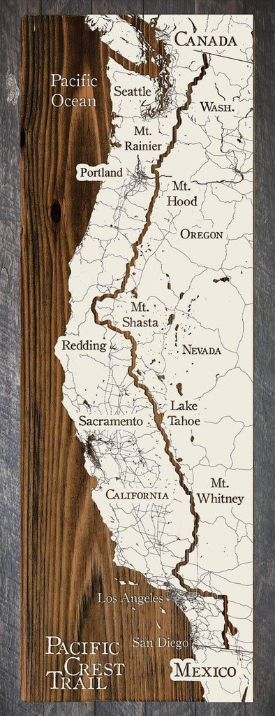 "Pacific Crest Trail Wood Fired Map -  Schmedium (14.5"" x 45"")"