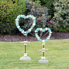 Glass Heart Garden Stand