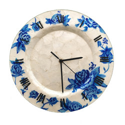 Clock Wall Decor, Blue Flowers