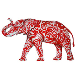 Wall Decor - Elephant, Red