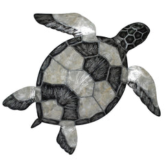 Wall Turtle Checkered Pewter