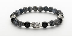 Men's Black Frosted Agate Buddha Bracelet