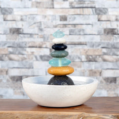 Rock Cairn Fountain with Glass