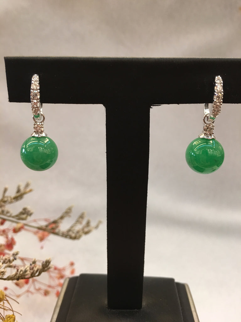 Green Jade Earrings - Balls (EA312)