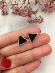 Natural Omphacite Jadeite Earrings - Triangle (EA116)