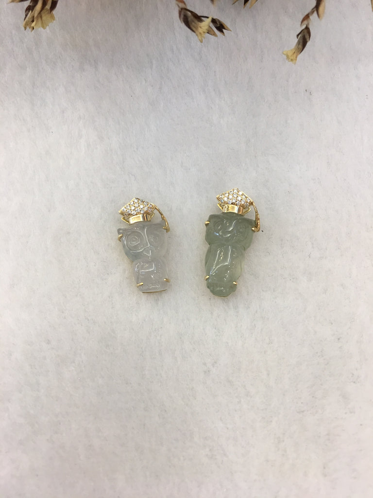 Icy Jade Owl Pendants