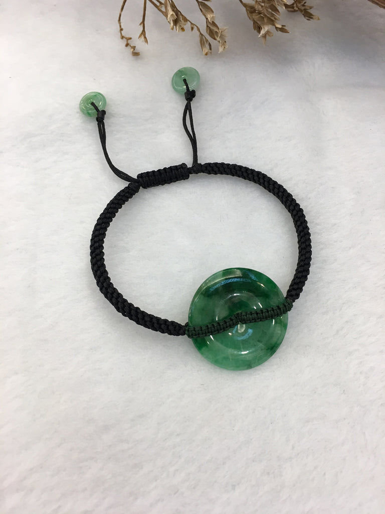 Dark Green Jade Bracelet - Safety Coin (BR015)
