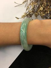 Icy Light Green Jade Bangle - Round (BA176)