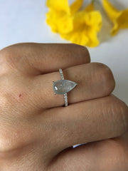 Icy Bluish Flower Jade Ring - Pear Shaped (RI057)