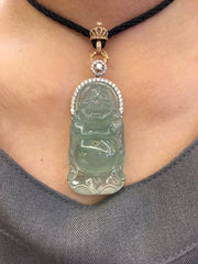 Icy Green Jade Pendant - Laughing Buddha (PE086)