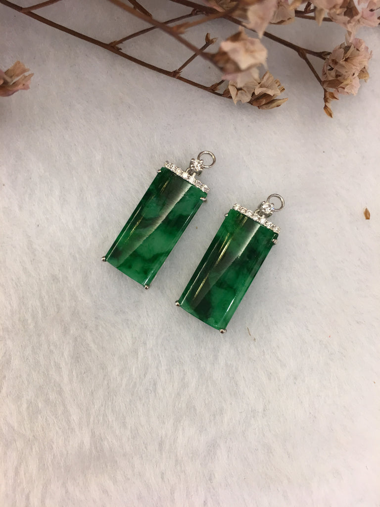 Green Jade Earrings - Rectangular (EA121)