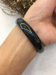 Black Jade Bangle - Round (BA076)