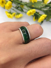 Dark Green Jade Hololith Ring (RI133)