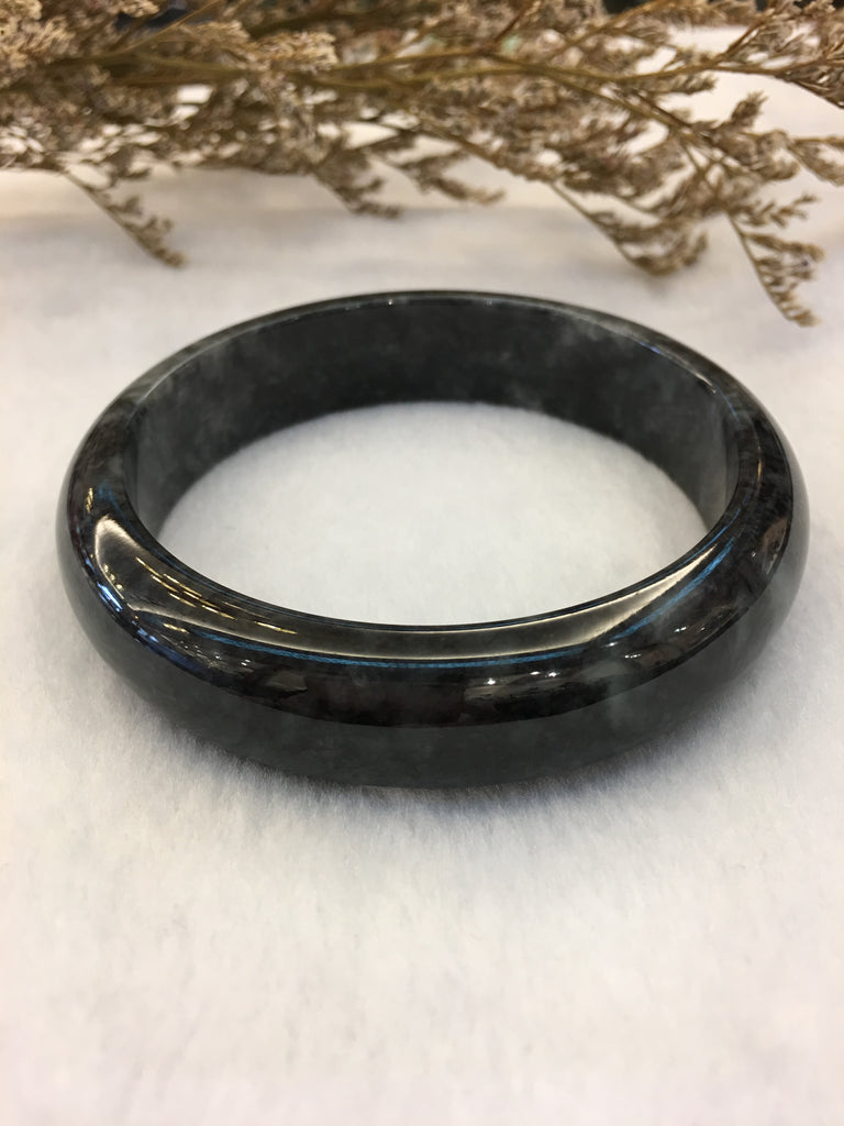Black Jade Bangle - Round (BA148)