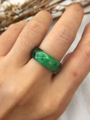 Dark Green Jade Hololith Ring (RI264)