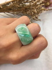 Apple Green Jade Ring - Saddle Shape (RI132)