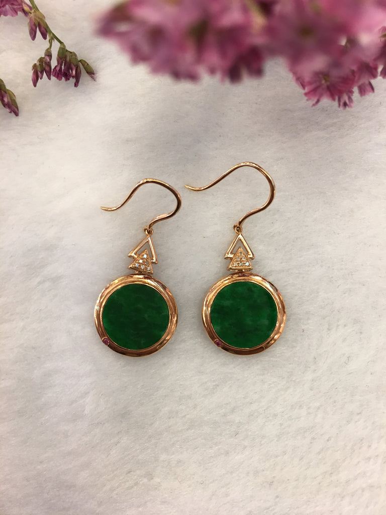 Dark Green Jade Earrings - Round (EA257)
