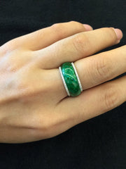 Dark Green Abacus Jade Ring (RI086)