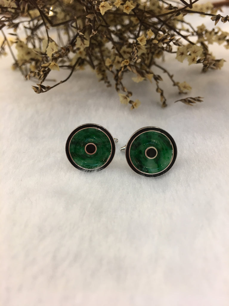 Dark Green Jade Cufflinks - Coins (OT002)