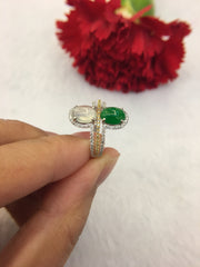 Icy Green & White Jades Ring (RI170)