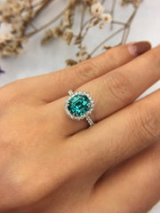 Natural Greenish Blue Tourmaline Ring (GE005)