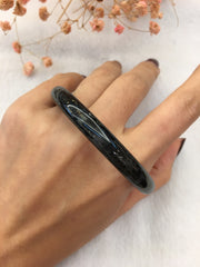 Black Jade Bangle - Round (BA226)