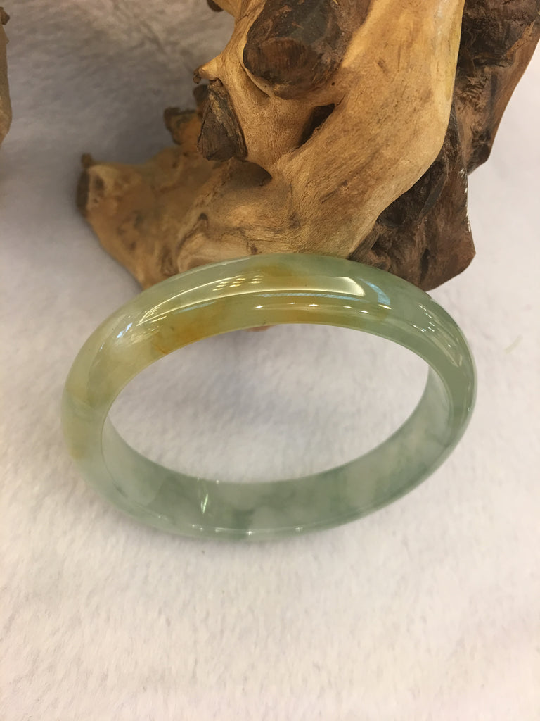 Icy Yellow & Green Bangle - Oval (BA102)