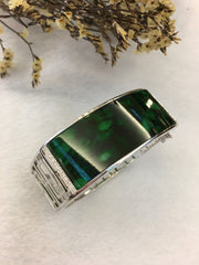 Dark Green Jade Bangle - Oval (BA131)
