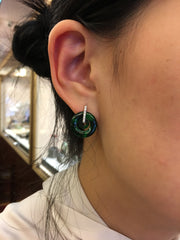 Dark Green Earrings - Double Loops (EA242)