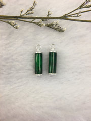 Dark Green Jade Earrings - Cylindrical (EA284)