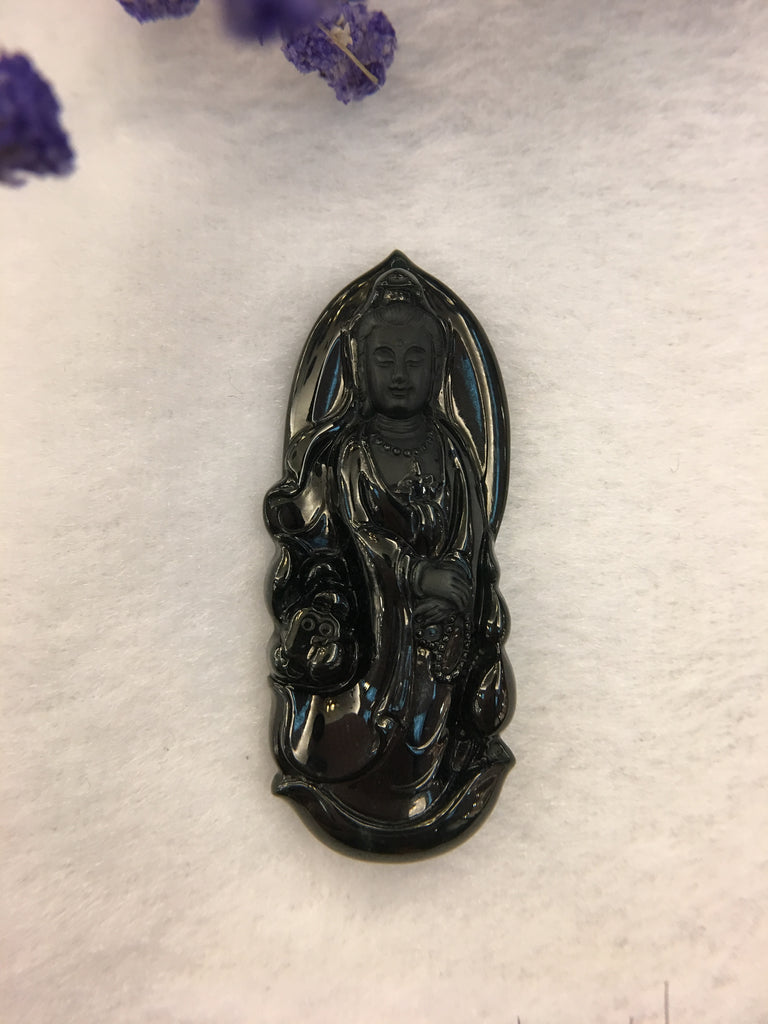 Natural Omphacite Jadeite - Guanyin (PE277)