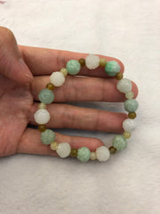 Icy White & Green Bracelet - Lotus (BR076)