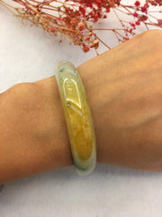 Bluish Flower With Yellow Jade Bangle - Round (BA187)